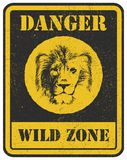 Warning sign. danger signal with lion Stock Photography