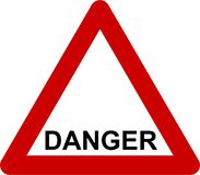 Warning sign with danger text vector illustration