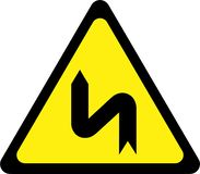 Warning sign with dangerous curves on left vector illustration