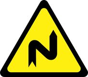 Warning sign with dangerous curves on right royalty free illustration