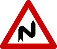 Warning sign with dangerous curves on right Royalty Free Stock Photography