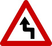 Warning sign with dangerous curves royalty free illustration