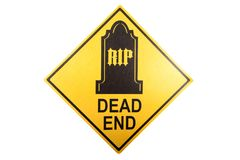 A dead end sign for the Halloween holiday. A warning sign decoration for Halloween against a white background Stock Images