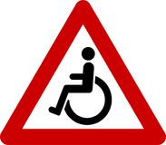 Warning sign with disabled people. Symbol Stock Images