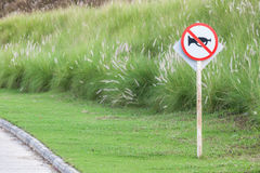 The warning sign do not use vehicle horn with flowering grass ba. Ckground of green golf course objective for do not disturbing golf players Stock Image