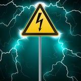Warning sign. Electrical hazard. Fenced danger zone. pillar with sign. Lightning strikes. Flash arcing. Fantastic background. Vect Stock Image