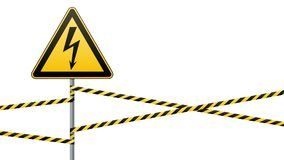 Warning sign. Electrical hazard. Fenced danger zone. pillar with sign. Vector illustrations Royalty Free Stock Photos