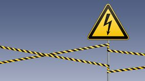 Warning sign. Electrical hazard. Fenced danger zone. pillar with sign. Vector illustrations Stock Photos