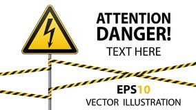 Warning sign. Electrical hazard. Fenced danger zone. pillar with sign. Vector illustrations Stock Image