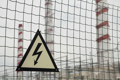 Warning sign - electricity Stock Photos