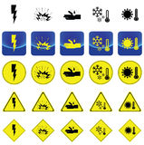 Warning sign for electricity shock, explosive, corrosion, cold, heat vector Royalty Free Stock Photos