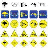 Warning sign for electricity shock from thunder, high voltage pole, wet hand vector Stock Images