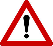 Warning sign with exclamation mark Stock Photo