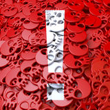 Warning sign exclamation mark, white, red skulls Stock Images