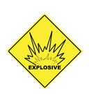 Warning sign for explosive compounds Stock Photo