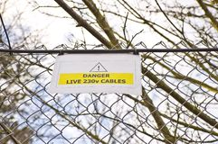 Warning sign on fence Royalty Free Stock Image