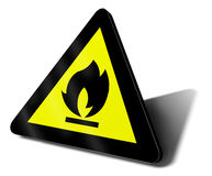 Warning sign fire. 3d illustration Stock Photos