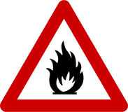 Warning sign with fire Stock Photo