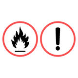 Warning sign fire and Warning sign exclamation mark in a circle of care