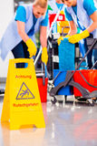 Warning sign on floor Royalty Free Stock Photography