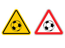 Warning sign football attention. Dangers yellow sign game. Socce Stock Images
