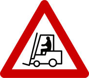 Warning sign with forklift Royalty Free Stock Photos