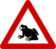 Warning sign with frogs on road Royalty Free Stock Photography