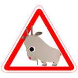 Warning sign with a funny Goat Royalty Free Stock Images