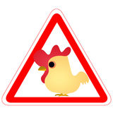Warning sign with a funny Rooster. As a road sign Royalty Free Stock Photography