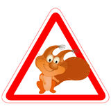 Warning sign with a funny Squirrel Royalty Free Stock Photo