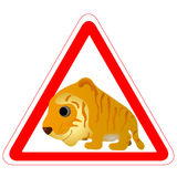 Warning sign with a funny Tiger. As a road sign royalty free illustration