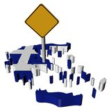 Warning sign on Greece map flag stock illustration