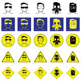 Warning sign of head with eyes protection glasses Stock Photo