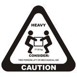Warning sign, heavy load, vector icon. Two people carry a load. Handling of heavy loads royalty free illustration