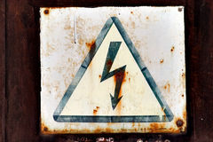 Warning sign for high voltage Royalty Free Stock Photo