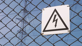 Warning sign for high voltage. Danger. High voltage at the substation. Electrical wires on the substation. Production. And transmission of electricity. junction stock video