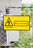 Warning sign high voltage power Royalty Free Stock Image