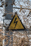 Warning sign high voltage Royalty Free Stock Photography
