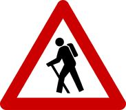 Warning sign with hiker Royalty Free Stock Photo
