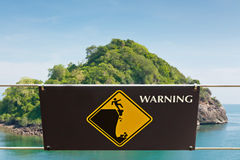 Warning sign at hill park Royalty Free Stock Photos