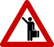 Warning sign with hitch-hiking royalty free illustration