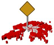 Warning sign on Hong Kong map flag Royalty Free Stock Image