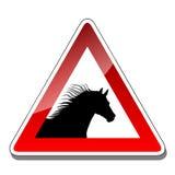 A warning sign horse Stock Photos