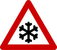 Warning sign with ice Stock Photos