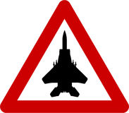 Warning sign with jet Stock Image