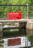 Warning sign on Lake Stock Photo