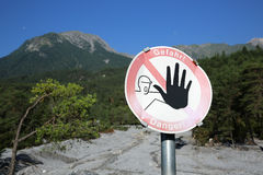 Warning Sign at Lechtal Alps Stock Images