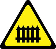 Warning sign with level crossing royalty free illustration