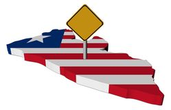 Warning sign on Liberia map flag Stock Images