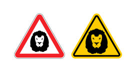 Warning sign lion attention. Dangers yellow sign wild animal. Ag Royalty Free Stock Photos